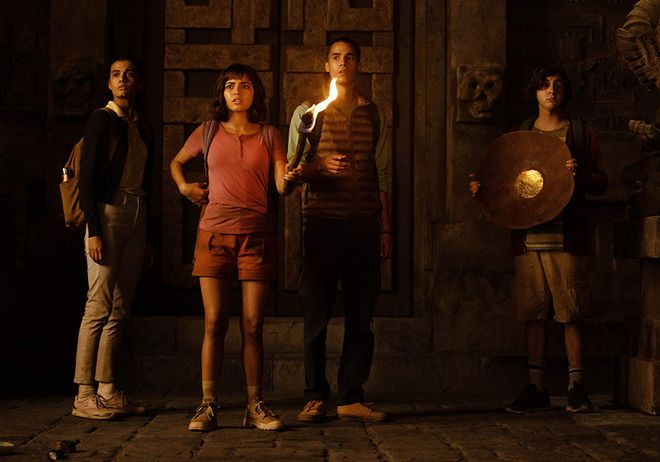 Madeleine Madden, Isabela Moner (as Dora), Jeff Wahlberg, and Nicholas Coombe in Dora and the Lost City of Gold (2019)