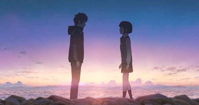 Taki and Mitsuha, the protagonists in Your Name (2016)